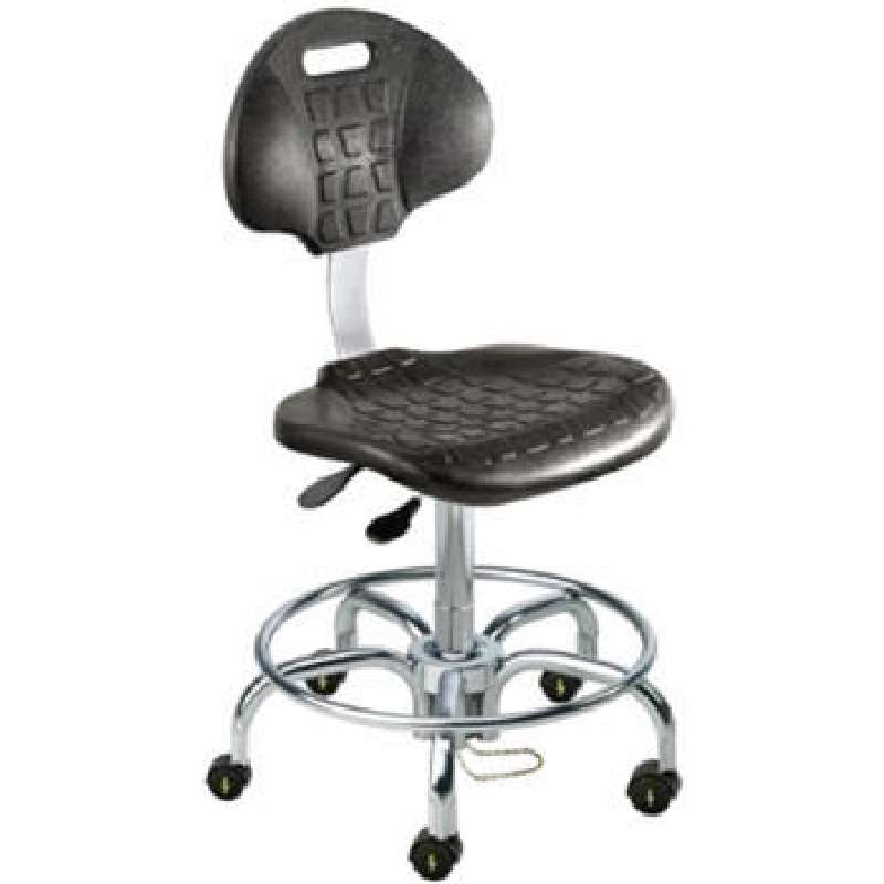 """UUT Series Cleanroom ESD-Safe Adjustable Height Black Chair with Chrome Base and Casters, 21 to 26"""""""