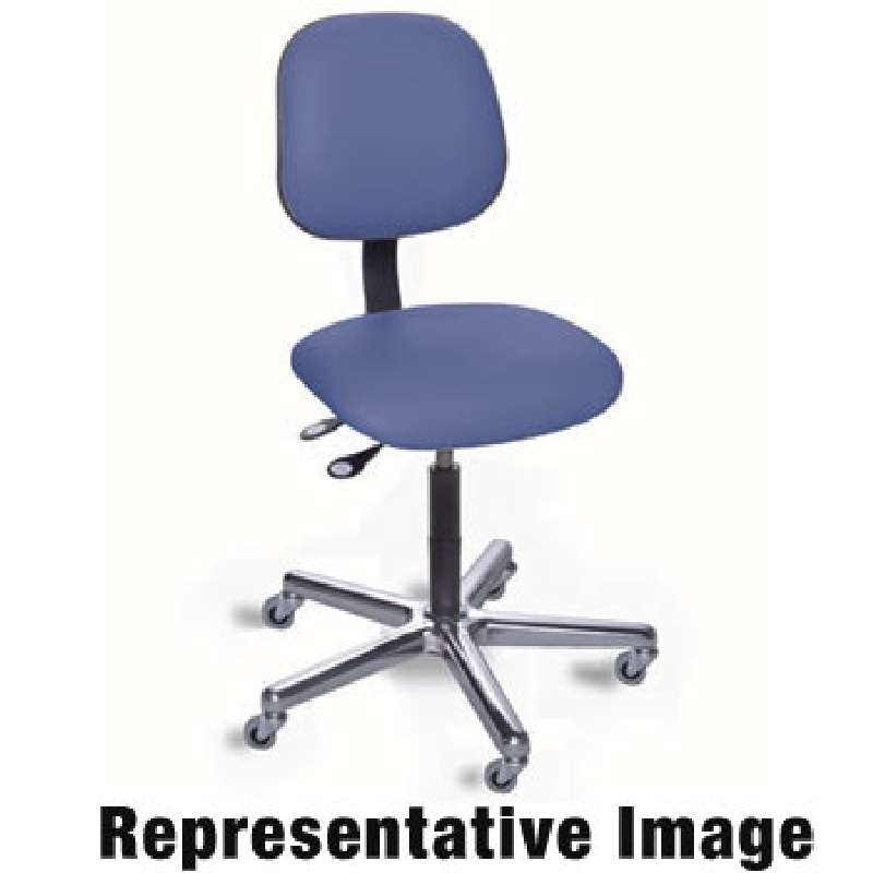 """EEC Series Cleanroon Non-ESD-Safe Adjustable Height Blue Vinyl Chair with Aluminum Base, 24 to 34"""""""