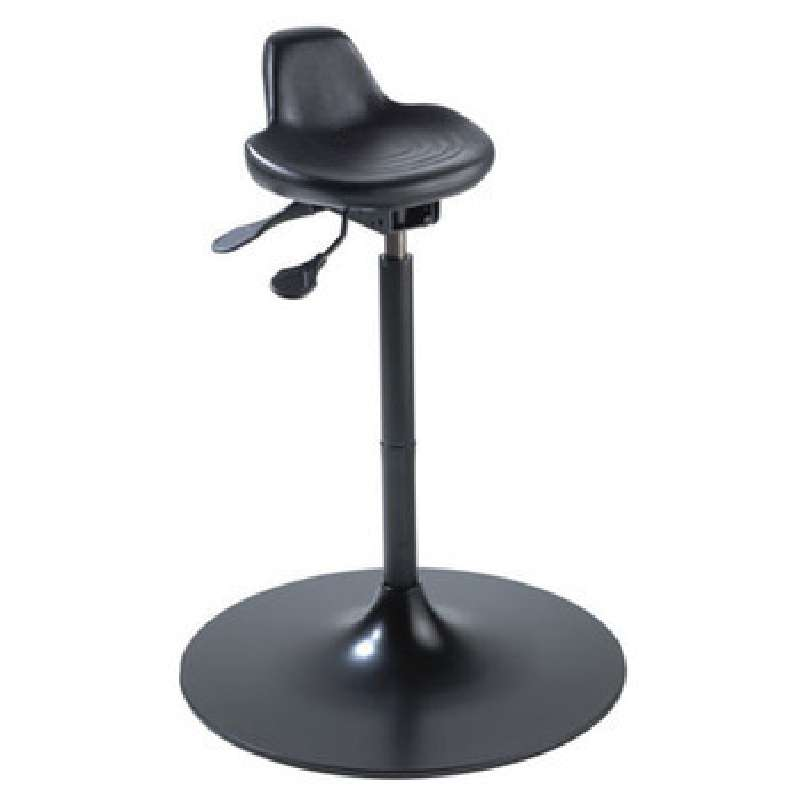 """GX Series Non-ESD-Safe Adjustable Height Black Sit-Stand Stool with Black Aluminum Base, 22 to 29"""""""