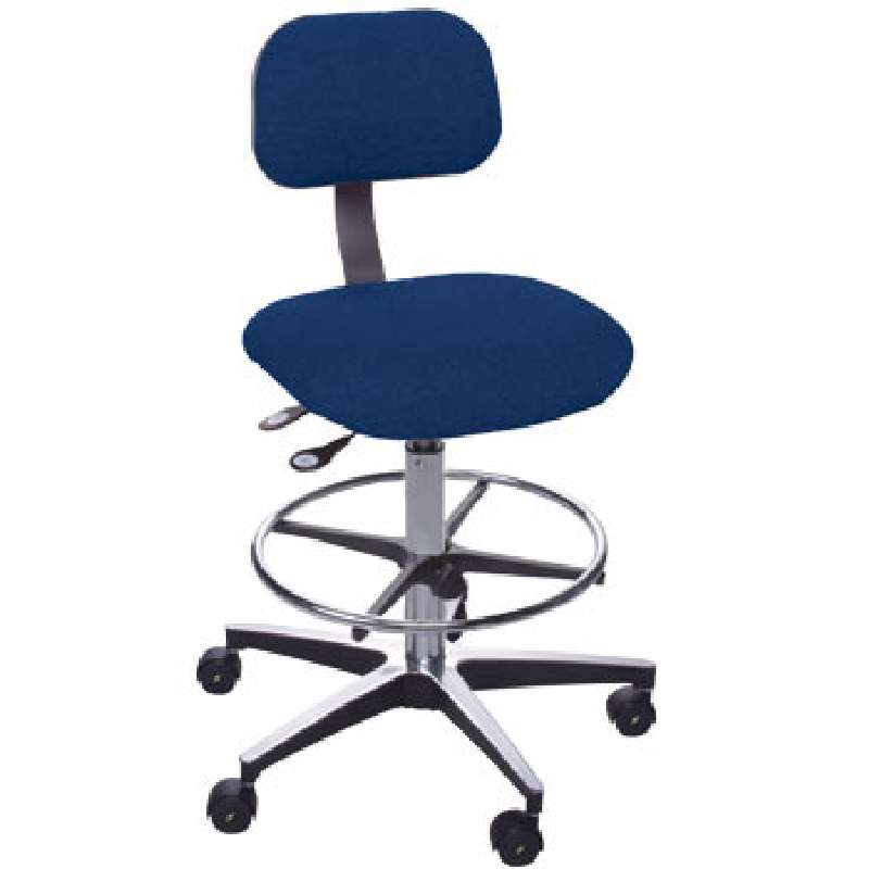 ETC Series Non-ESD-Safe Adjustable Height Navy Blue Cloth Chair with Aluminum Base, Footring, and Ca