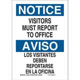 Laminated Polyester Adhesive Sign, NOTICE Visitors Must Report To Office, English/Spanish, Blue/Whit
