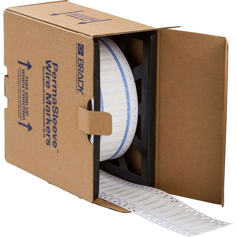 """PermaSleeve™ Heat Shrink Polyolefin White Wire Marking Sleeves, .667 x 0.439"""" 2500 per Roll, Two-Sided Printable"""