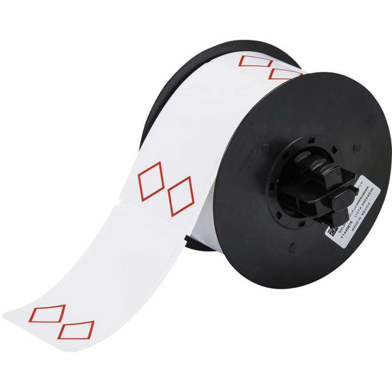 """B30 Series Vinyl GHS Label with 2 Pre-Printed Red Empty Diamonds, 2"""" x 3"""", White, 340 per Roll"""
