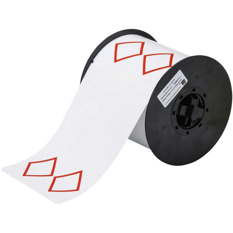 """Vinyl GHS Labels with 2 Pre-Printed Red Diamonds, 4"""" x 6"""", 200/Roll"""