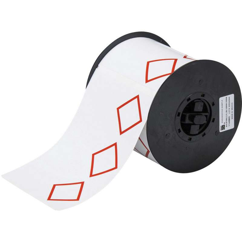 """Vinyl GHS Labels with 3 Pre-Printed Red Diamonds, 4"""" x 6"""", 200/Roll"""