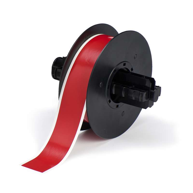 B30 Series Polyester Labels with Low Halide Content, Red, B-569, 1.125 in x 100 ft Roll