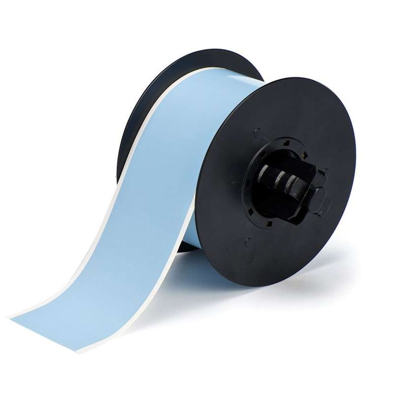B30 Series Polyester Labels with Low Halide Content, Sky Blue, B-569, 0.5 in x 100 ft per Roll