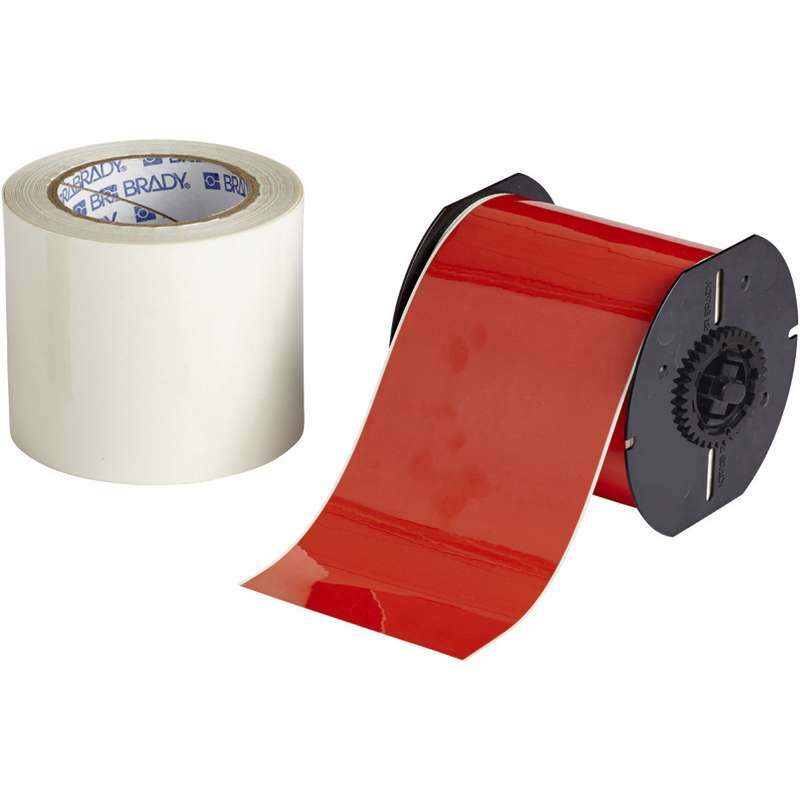 """B30 Series Polyester Label Material with Aggressive Permanent Adhesive, 4"""" x 100', Red"""
