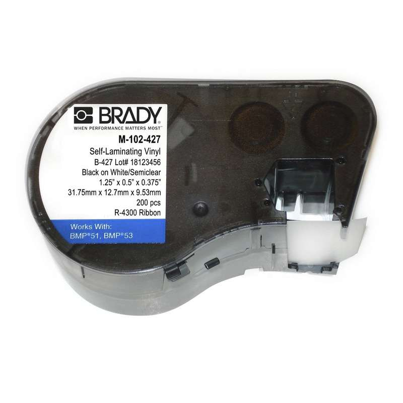 "BMP™51/BMP™53/BMP™41 Label Maker, Self-Laminating Vinyl, .5 x 1.25"", Blk on White/Clear, 200/Cartridge"