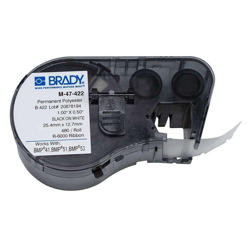 "BMP™51/BMP™53/BMP™41 Label Maker, Permanent Polyester, 1x.5"", Blk on Wht, 480/Cartridge"