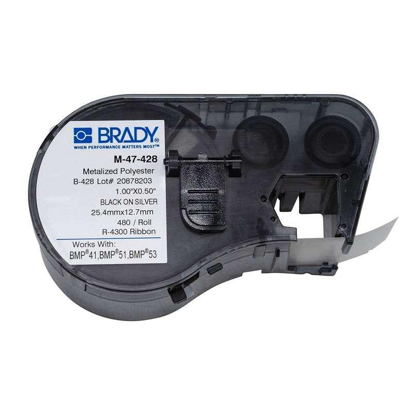 "BMP™51/BMP™53/BMP™41 Label Maker, Metalized Polyester, 1x.5"", Blk on Lt Gray, 480/Cartridge"