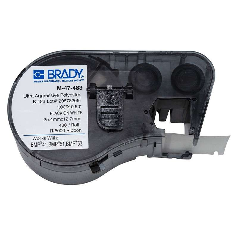 """BMP™51/BMP™53/BMP™41 Label Maker, Polyester with Ultra Aggressive Adhesive, 1x.5"""", Blk on Wt, 480/Cart"""