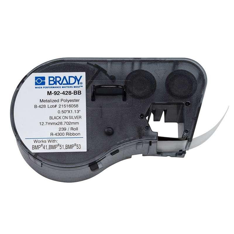 "BMP™51/BMP™53/BMP™41 Label Maker, Metalized Polyester, 1.13x.5"", Blk on Lt Gray, 239/Cartridge"