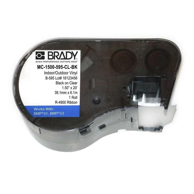 """BMP51/BMP53 Label Maker Cartridge, Indoor/Outdoor Vinyl, 1-1/2"""" x 20', Black on Clear"""