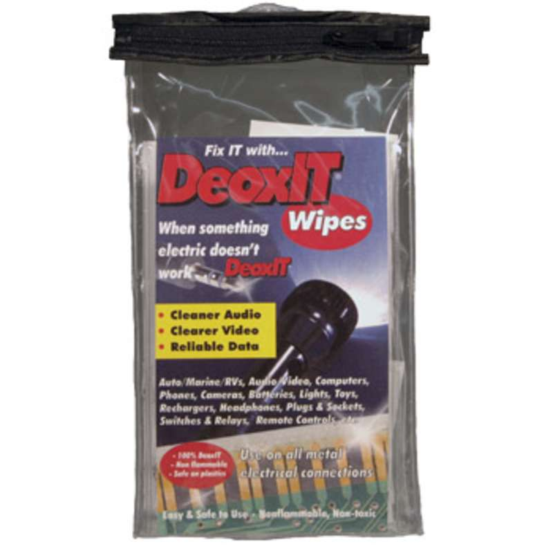 """DeoxIT® Contact Cleaner and Rejuvenator Wipes, 3"""" x 3.5"""" 50 Wipes per Package"""