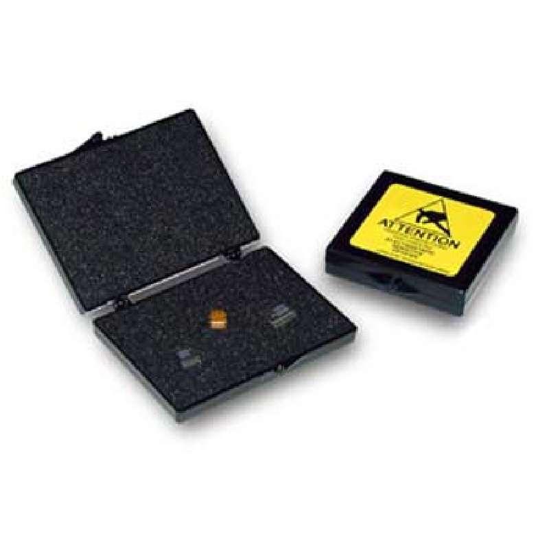 "PillowStat™ Hinged Conductive Plastic Box with Black Conductive Foam, 2 x 2 x 1/4"""