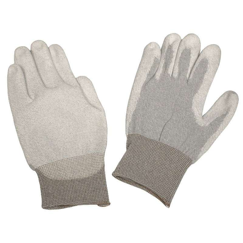 Dissipative Nylon Small Gloves with Polyurethane Coating and Grey Cuff, 1 Pair