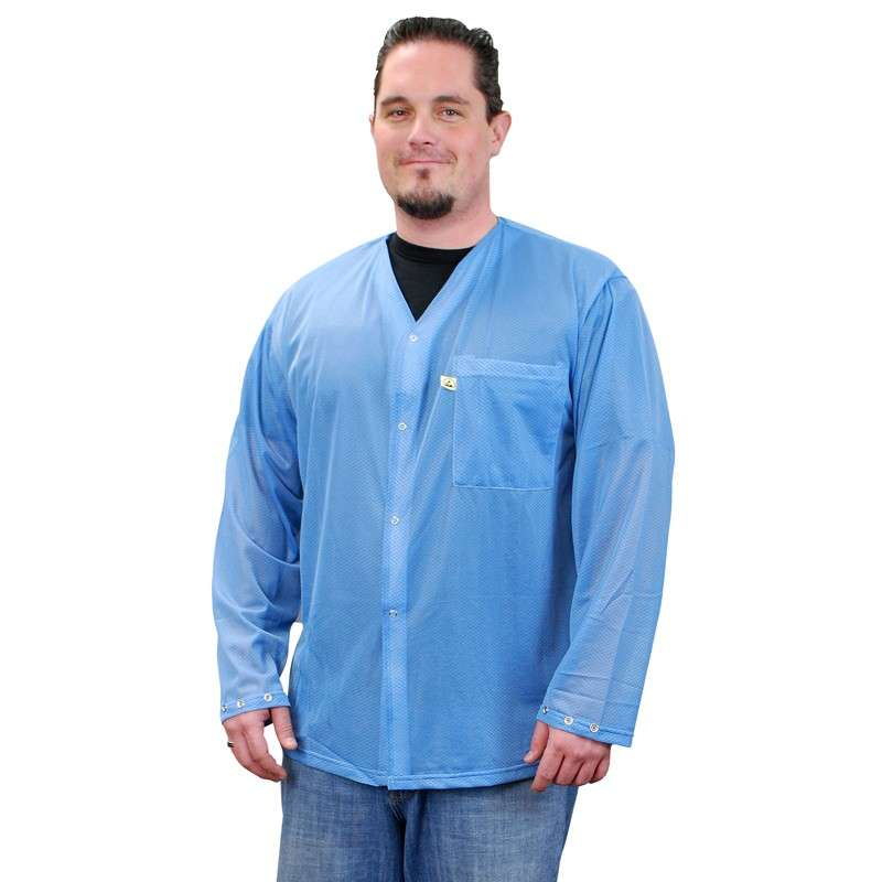 Trustat™ Jacket with Snaps, No Collar and One Pocket, Blue, Large