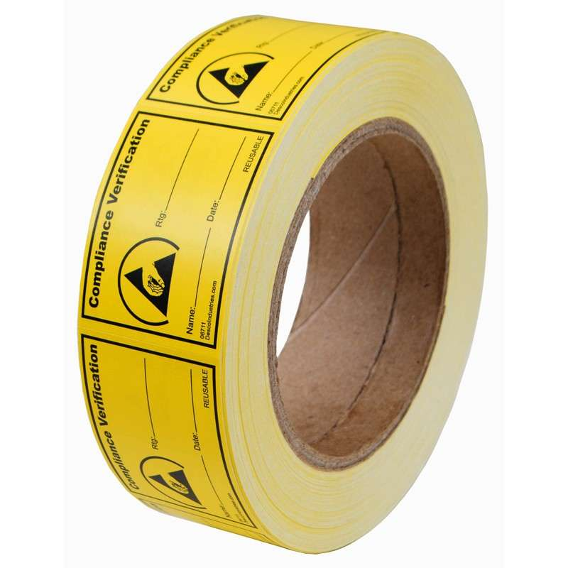 """""""Compliance Verification"""" RS-471 Reaching Hand Reusable Label, 1-1/2 x 2"""", 1000 per Roll"""