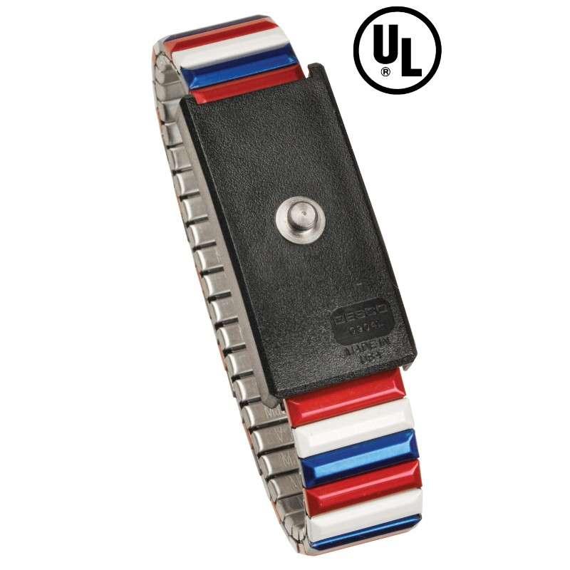 09200 Premium Metal Expansion Wrist Band, Red/White/Blue