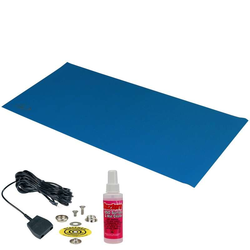 """Statfree B2™ 2-Layer Diss/Cond Vinyl Worktop Mat Kit with One Ground Cord and One Snap, Dark Blue/Black, 24 x 36 x .060"""""""
