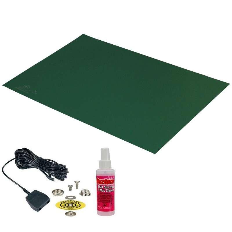 "Statfree B2® 2-Layer Diss/Cond Vinyl Mat Kit with Ground Cord, Green/Black, .060"" x 30"" x 60"""