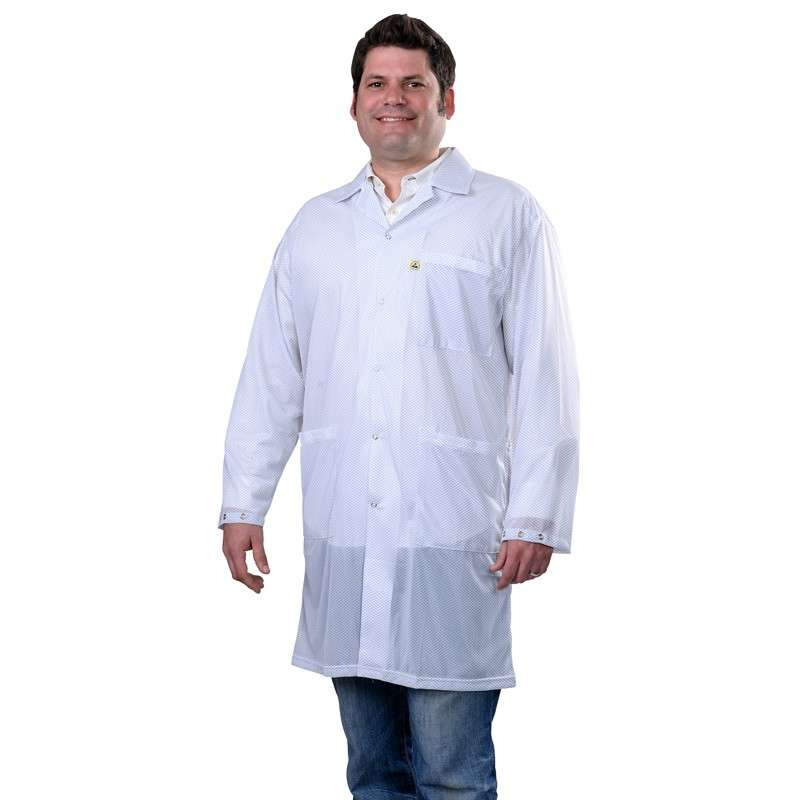 """Statshield® ESD-Safe Lab Coat with Snaps, White, 3X-Large, 41"""" Long"""