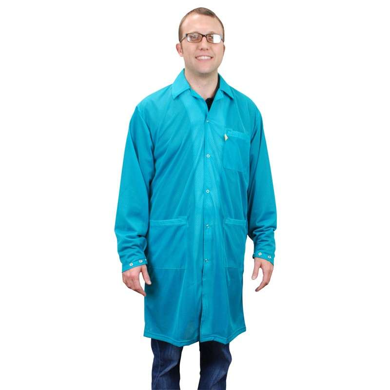 """Statshield® ESD-Safe Lab Coat with Snaps, Teal, Medium, 39"""" Long"""