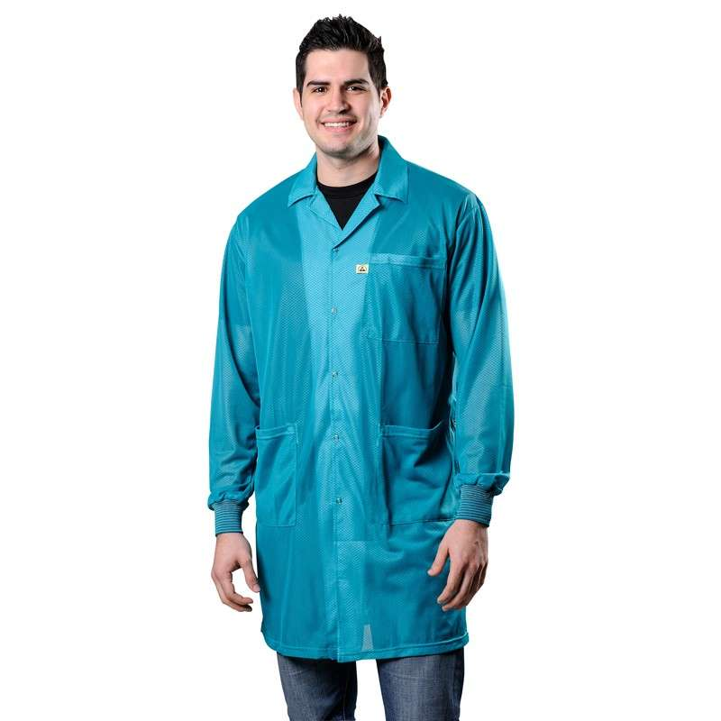 """Statshield® ESD-Safe Lab Coat with Cuffs, Teal, 3X-Large, 41"""" Long"""
