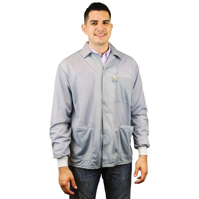 """Statshield™ ESD-Safe Jacket with Knitted Cuffs, Grey, 3X-Large, 41"""" Long"""