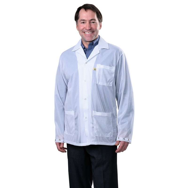 """Statshield® ESD-Safe Jacket with Snaps, White, 3X-Large, 32"""" Long"""