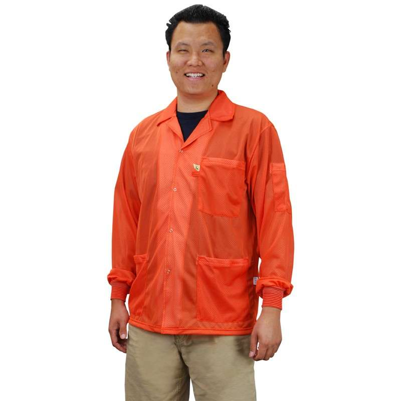 """Statshield™ ESD-Safe Jacket with Knitted Cuffs, Orange, 4X-Large, 32-1/2"""" Long"""