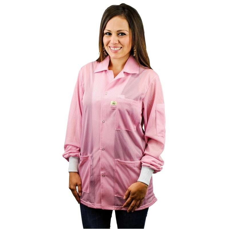 """Statshield™ ESD-Safe Jacket with Knitted Cuffs, Pink, Medium, 30"""" Long"""