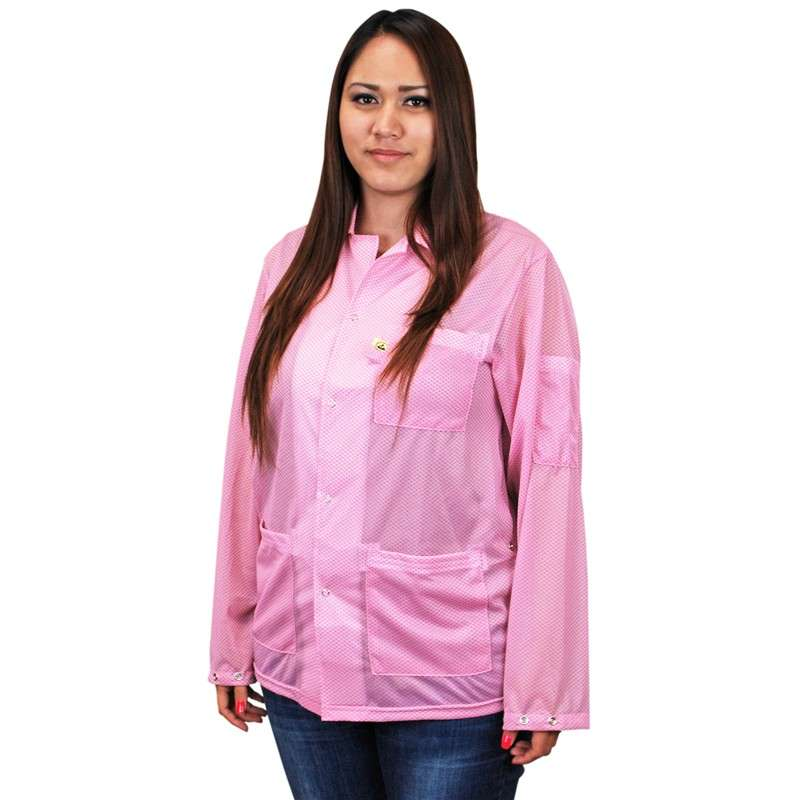 """Statshield™ ESD-Safe Jacket with Snaps, Pink, Large, 30-1/2"""" Long"""