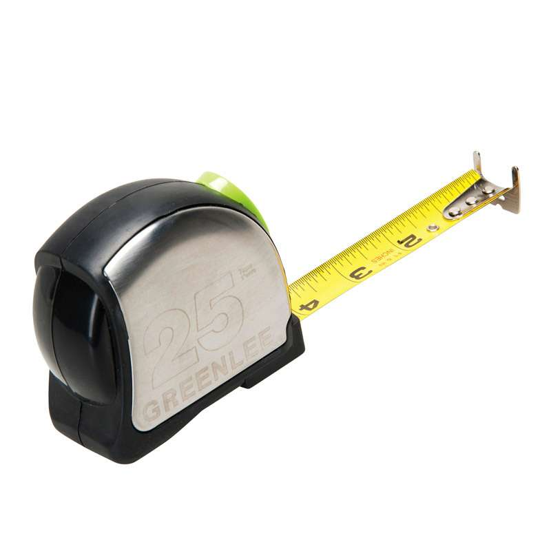 """Black/Silver Double Sided Tape Measure with Power Return, 1"""" x 25'"""