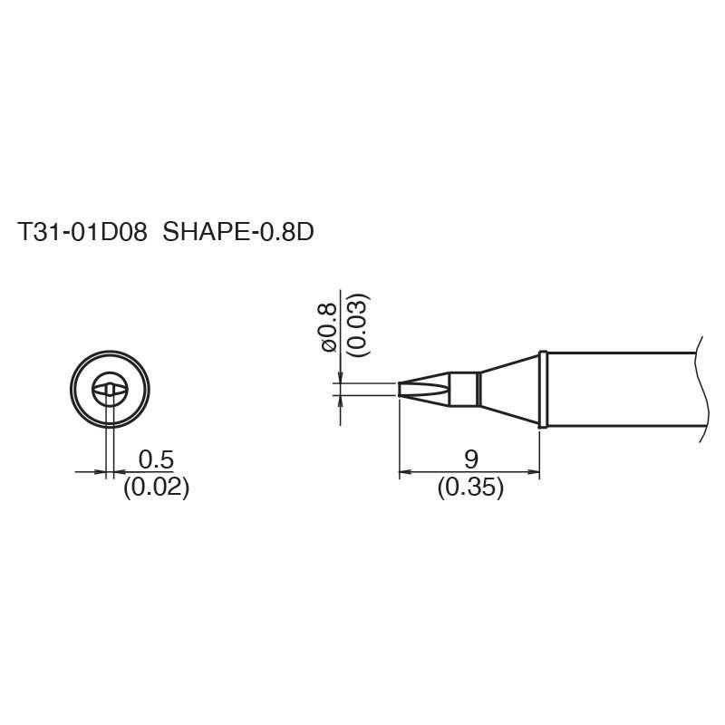 T31 Series Chisel Solder Tip for FX-100 Soldering Station, 9.0mm