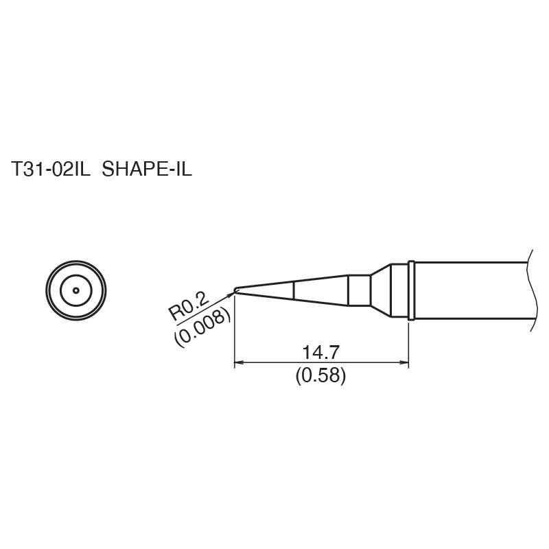 T31 Series Conical Solder Tip for FX-100 Soldering Station, 14.7mm