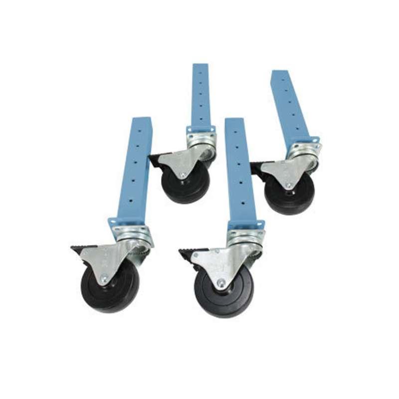 """Workmaster™ Quick Ship Leg Extender Caster Kit, 4""""H, 4 per Kit, EZE Blue"""