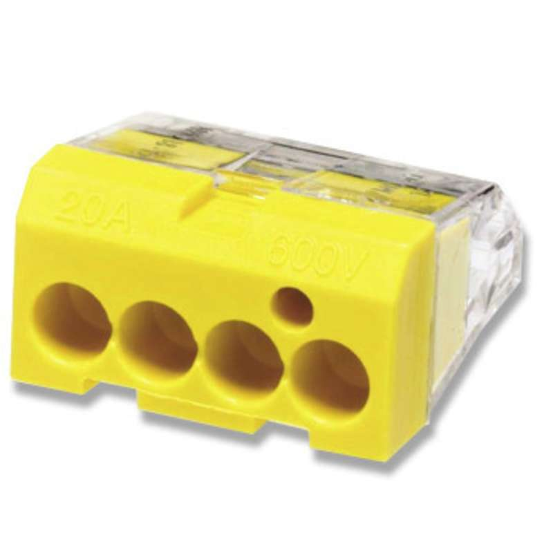In-Sure™ Push-In Wire Connector, 4-Port, 600V, 12-20 AWG, Yellow, 100 per Package