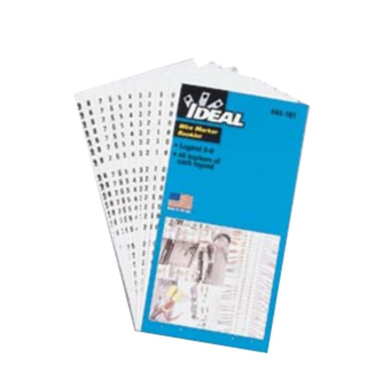 """Wire Marker Booklet, Perforated 1.5"""" Numbers 0-15, A-Z,+,-,/, 10 Of Each"""