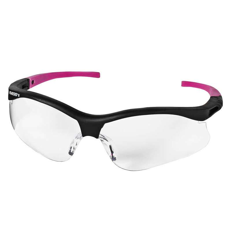 KleenGuard V30 Nemesis  Small Safety Glasses, Anti-Fog Clear Lenses with Black Frame and Pink Tips, 12 per Case