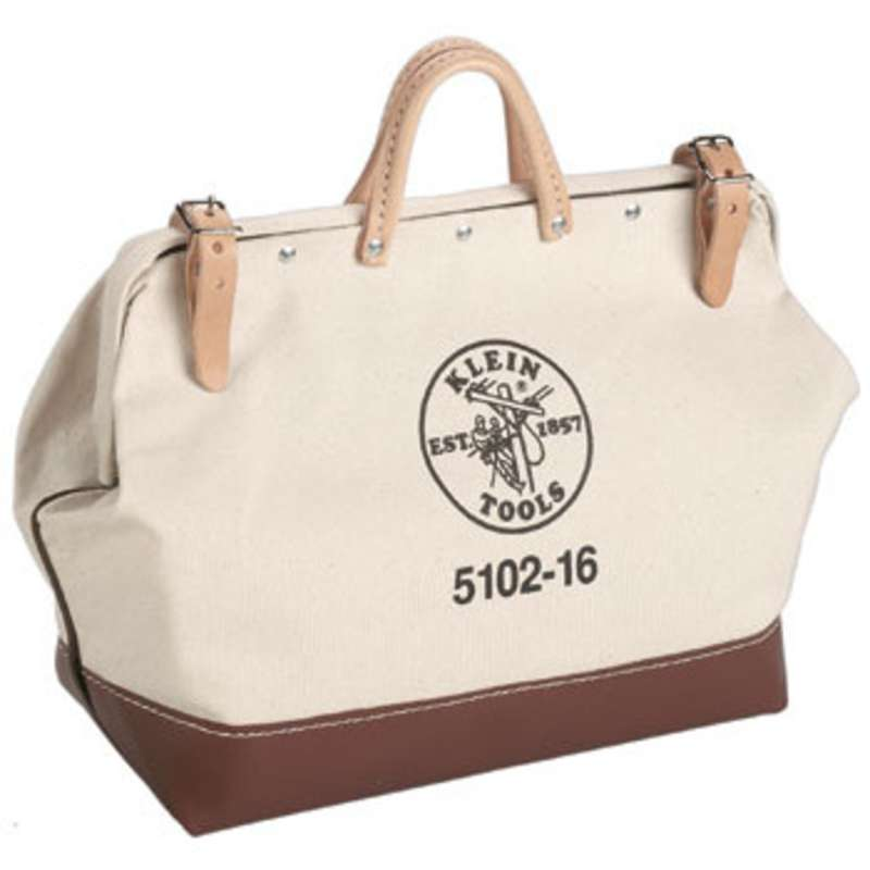 """Canvas Tool Bag with Steel Frame Mouth and Leather Handles, 24 x 6 x 15"""""""