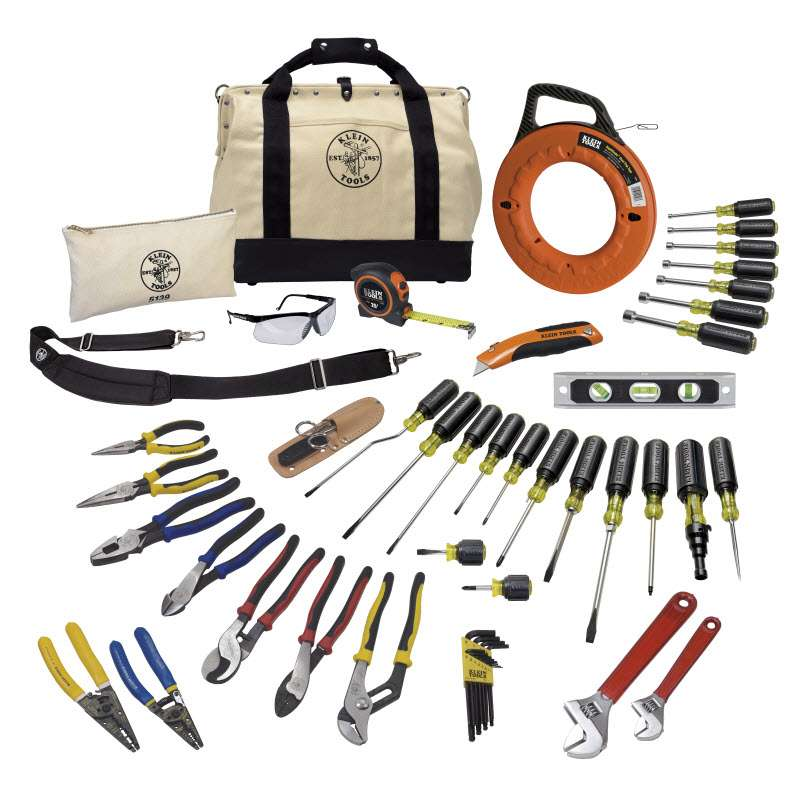 """Journeyman Tool Set in 18"""" Canvas 10-Pocket Tool Bag with Leather Bottom, 41 Pieces"""