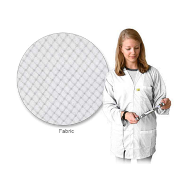 """ESD-Safe Lightweight 3/4 Length Lab Coat with Snap Cuffs and Three Pockets, White, 3X-Large, 31"""" Long"""