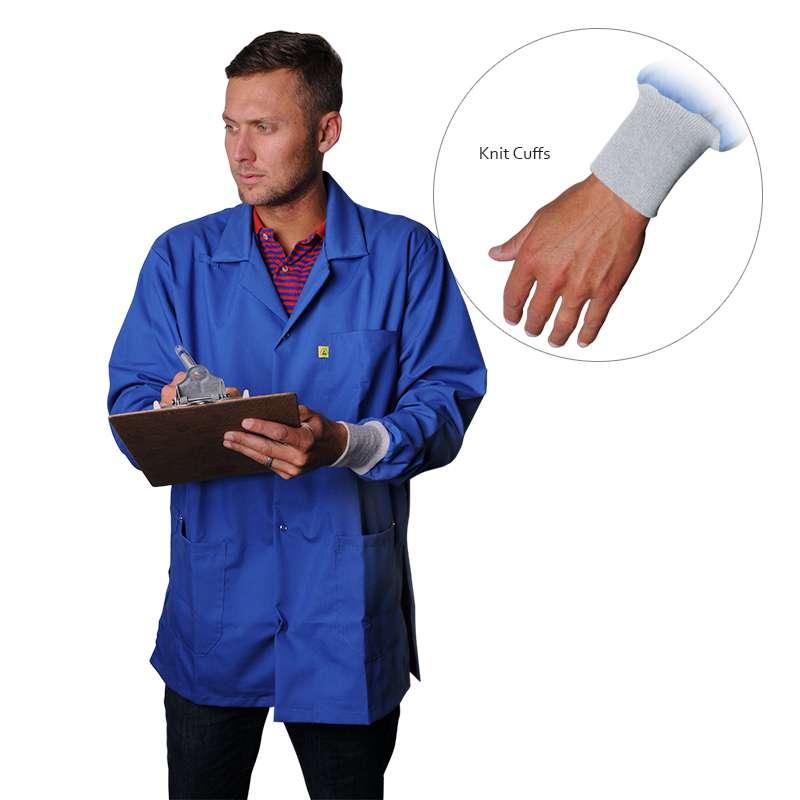 "ESD-Safe Medium Weight Jacket with Cuffs, Medium Blue, Small, 31-1/2"" Long"