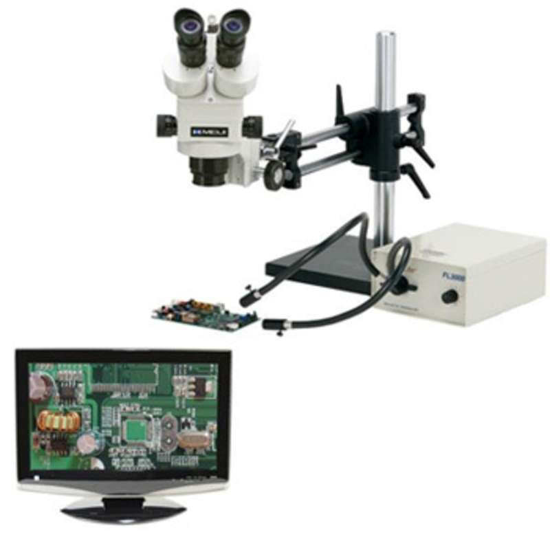 """ESD-Safe Stereo-Zoom Trinocular Microscope with Dual Arm Base, Dimmable LED Ring Light, and 19"""" HD LCD Monitor"""
