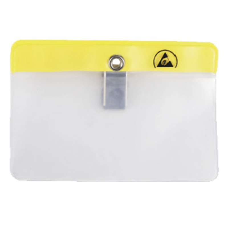 "ESD-Safe Horizontal Clip-On Badge Holder, 4-5/16 x 3-3/8"""