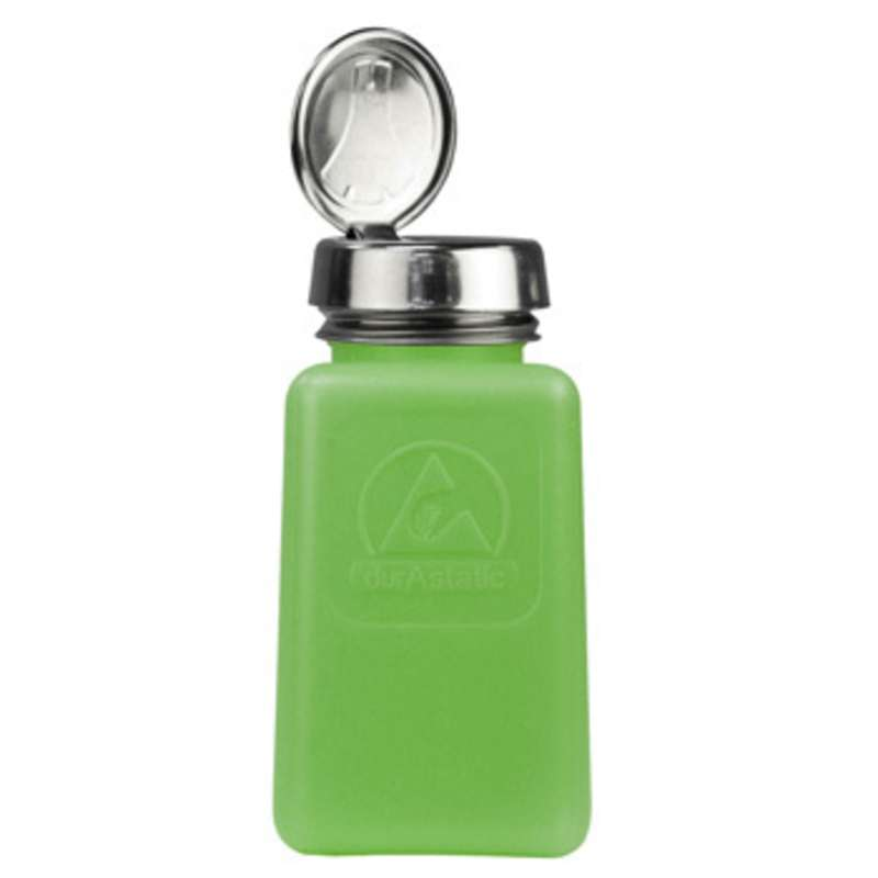 ESD-Safe Green durAstatic™ Solvent Dispenser Bottle with One-Touch Pump Top, 6 oz
