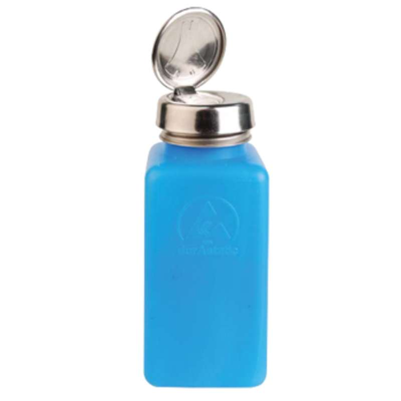 ESD-Safe, Dissipative HDPE Blue durAstatic™ Solvent Dispenser Bottle with One-Touch Pump Lid, 8 oz