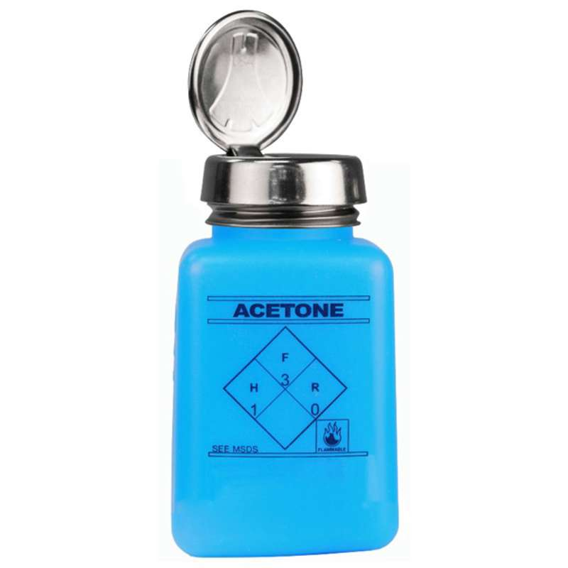 ESD-Safe Blue durAstatic® Acetone Solvent Dispenser Bottle with One-Touch Pump, 6 oz